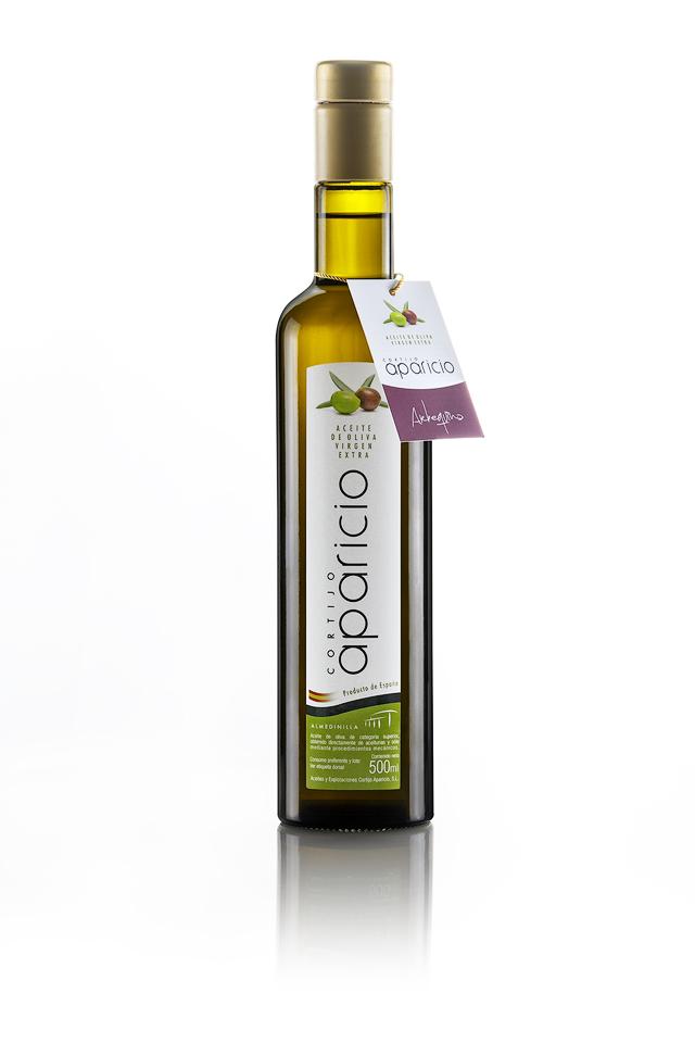 Aceite de Oliva</br>Virgen Extra </br>variedad Arbequina</br>12 Envases de cristal de 500 ml (6L)